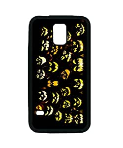 S5 Rubber Case - Halloween Pumpkin Faces Patterned Protective Skin Case Cover for Samsung Galaxy S5 i9600 - Haxlly Designs Case