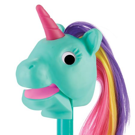 Rainbow Prancers Puppet-on-a-Stick, Teal Unicorn Photo #2