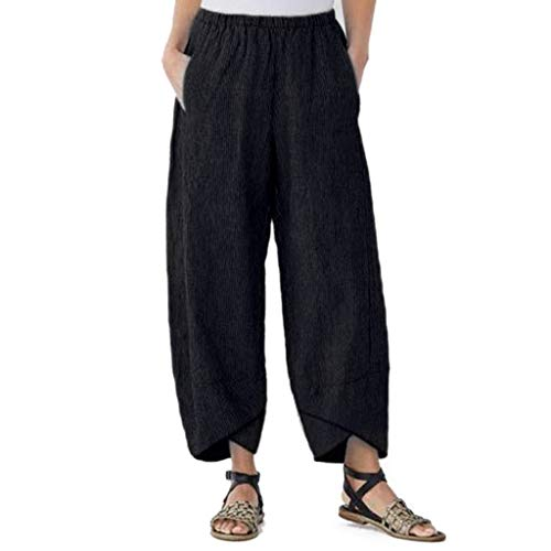 Pants for Women, Linen Yoga Bloomers Elastic Waist Loose Pants Trousers (XL, Black)