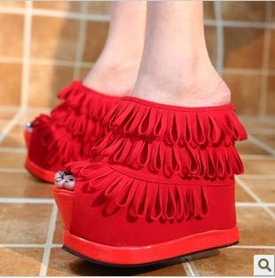 Slippers SFSYDDY Night Women'S Cold Shop Fish gules Super High Shoes Heels Mouth Fashion Slope Fringed Thick Shoes Bottom Heels 15Cm tUUxgr