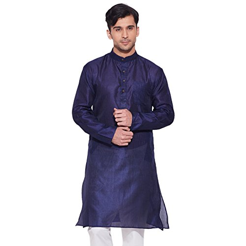 men-full-sleeve-designer-faux-silk-long-kurta-casual-wear-plain-kurta