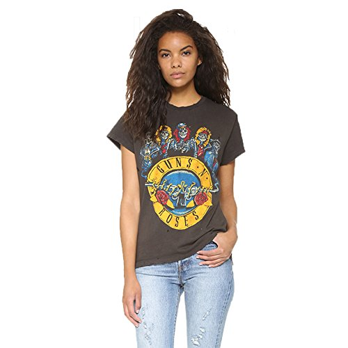 Fashion Women GUNS N ROSES Print Short Sleeves Casual Loose Sporty T-shirt Tops,Grey,Medium
