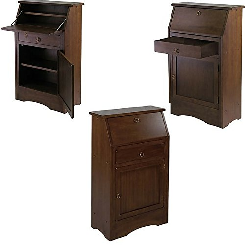 Small Secretary Desk with Drawer and Shelves Expandable Writing Workstation with Storage Wooden Brown Antique Narrow Wood Secretary Desk Table Furniture eBook by Easy&FunDeals