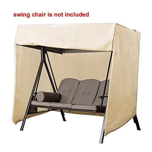 boyspringg 3 Seater Patio Swing Chair Covers Garden Hammock Glider Cover Durable Waterproof UV Resistant Whether Protector Outdoor Furniture (Beige) ()