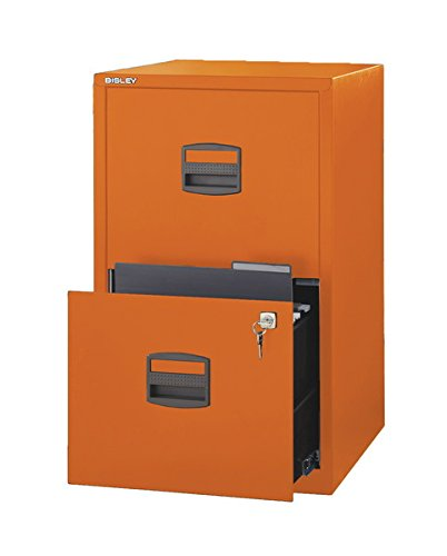 Merveilleux Bisley Two Drawer Steel Home Filing Cabinet, Orange (FILE2 OR)