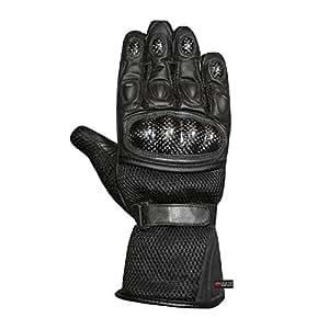 Men's Motorcycle Mesh & Leather Carbon Fiber Cruiser Ventilated Biker Gloves L