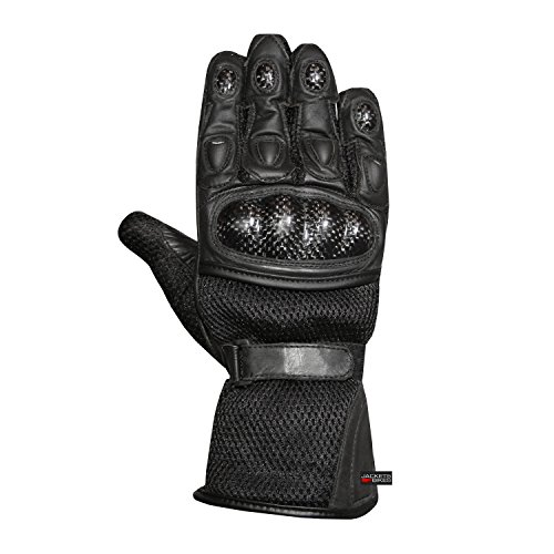 Motorcycle Carbon Fiber Gloves (Men's Motorcycle Mesh & Leather Carbon Fiber Cruiser Ventilated Biker Gloves M)