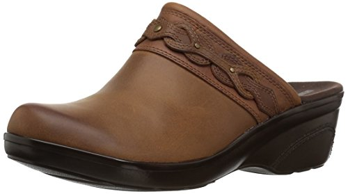 Leather Clogs Mules - CLARKS Women's Marion Coreen Clog, Dark tan Leather, 085 W US