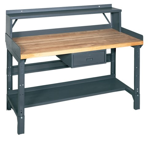 Edsal 1411M 72-Inch Wide by 36-Inch Deep by 29-Inch-33-Inch High Heavy Duty Adjustable Leg Workbench 4000-lbs. Capacity, Grey (72' Workbench)