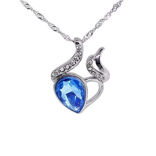 CHOP MALL Blue Gem Crystal Rhinestone Heart Pendant Chain Necklace for Girl/Lady/Women/Valentine's Day/Anniversary Gift -