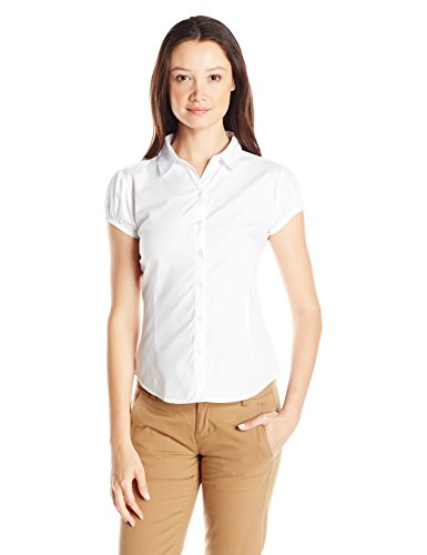 (IZOD Junior's Uniform Short Cap Sleeve Woven Shirt, White, Small)