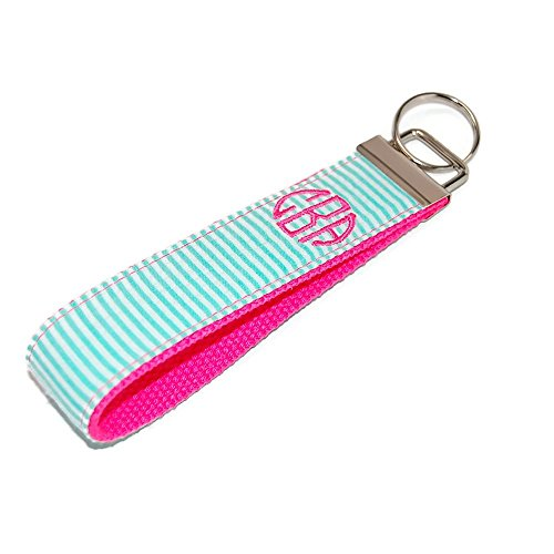 Monogrammed Pink and Mint Keychain Seersucker Fabric Key Fob Free Shipping ()