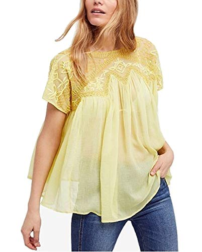 Free People Womens Sunny Days Embellished Top Yellow Medium