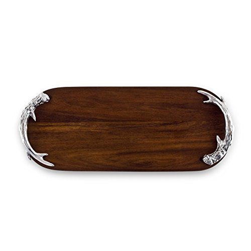 Beatriz Ball Western Antler Long Oval Cutting Board, Metallic - Polished Pewter Blocks