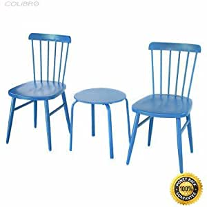 COLIBROX--3PCS Patio Table Chairs Furniture Set Bistro Garden Lawn Pool Side Steel Blue Giantex 3 Pcs Bistro Set Garden Backyard Table Chairs Outdoor Patio Furniture