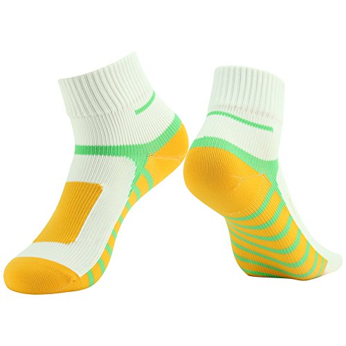 RANDY SUN Ankle Socks, [SGS Certified] Unisex Waterproof & Highly Breathable Socks White & Yellow & Green Large 1-Pair