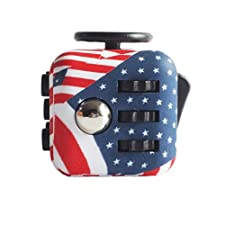 CPEI Mini Fidget Cube Stress Cube, Relieves Stress And Anxiety Toy Fidget Cube fidget spinner (US Flag, Same Size)