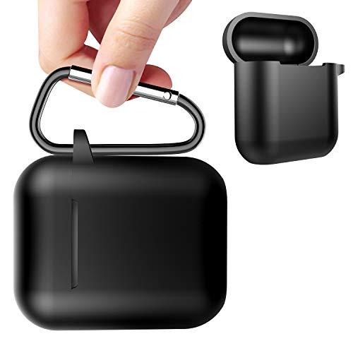 Black Premium Silicone Cover - AirPods Case - Gmaso AirPods Accessories Shockproof Case Cover Premium Silicone Case Full Protective Cover Skin for Apple AirPods (Black)