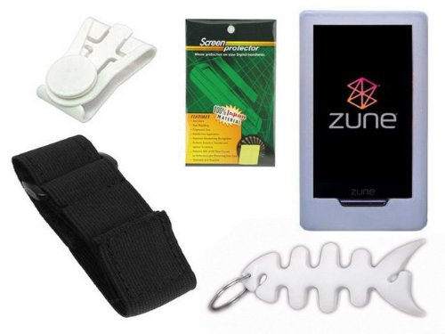 TPA- Accessory Combo Kit for Microsoft Zune HD 16GB / 32GB Series: Includes Clear Durable Flexible Soft Silicone Skin Case, Premium Reusable LCD Screen Protector, Elastic Armband, Belt Clip, Fishbone Style Keychain
