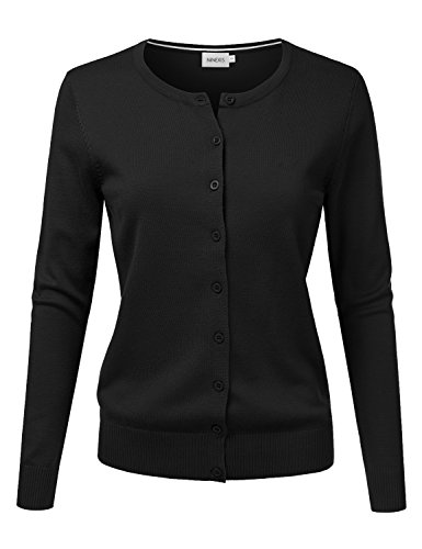 (NINEXIS Women's Long Sleeve Button Down Soft Knit Cardigan Sweater Black S)
