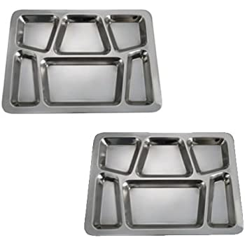 SET OF 2 - 6 Compartment Cafeteria Food Tray Cafeteria Eating Mess Tray - Stainless Steel  sc 1 st  Amazon.com & Amazon.com | Nordic Ware Party Trays Assorted Colors Set of 4 ...