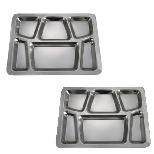 (SET OF 2 - 6 Compartment Cafeteria Food Tray, Cafeteria Eating Mess Tray - Stainless Steel)
