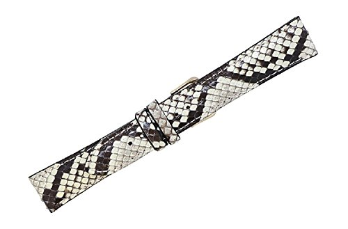24mm Natural Genuine Python Snake Skin Watch Strap - American Factory Direct - Gold and Silver Buckles - Made in USA by Real Leather Creations FBA803