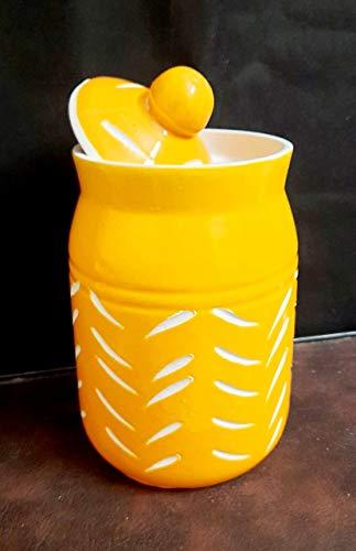 LOTUM 3D Cut Beautiful Sunlight Self Design Decorative Ceramic Pickle Jar with Unique Lid (400-450 ml) Price & Reviews