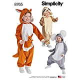 Simplicity 8765 Kid's Animal Onesies Sewing Pattern, 3 Styles, Sizes 1/2-4