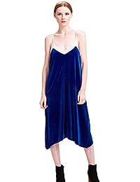 Womens Velvet Long Dress Mesh Cami Sleepy Dress Sexy Knee-Length Vestidos