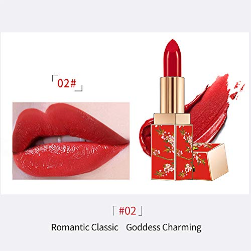 STQANON Natural Long Lasting Moisturizing Lipstick Chinese Palace Style Lip Makeup 1.2 Ounce (Crimson/Magenta) 02