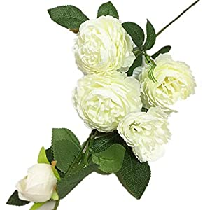 jiumengya 8pcs Artificial European Peony Flower 94cm/37 Five Heads/Piece for Wedding Home Party Decorative Flower (Cream) 84