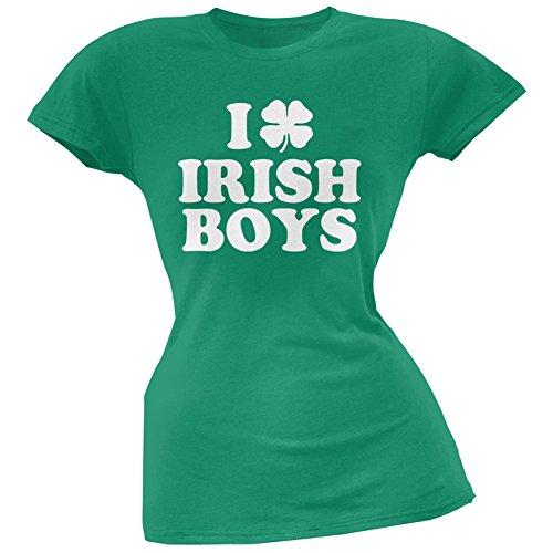 Old Glory I Shamrock Love Irish Boys Green Juniors Soft T-Shirt - X-Large (Green Love Boys Irish)