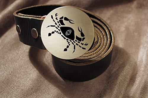 Cancer Belt Buckle ZODIAC Etched Metal
