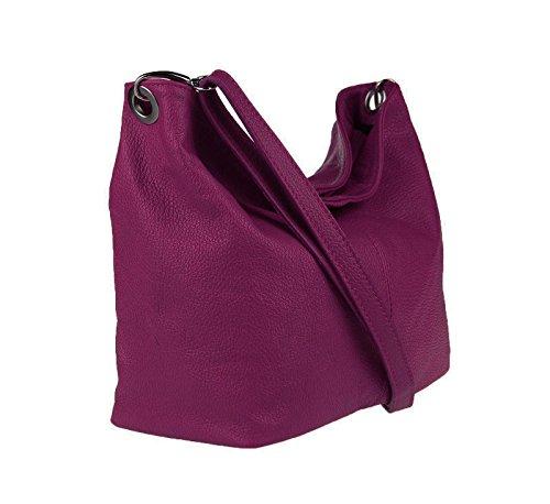 OBC Made in Italy Damen Leder Tasche Crossbody Umhängetasche City Bag Vera Pelle Schultertasche Messenger Clutch Ipad/Tablettasche Schmucktasche(Mint) Bordeaux