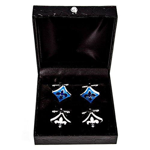 MRCUFF Fleur-de-LYS Fleur De Lis Black & Blue 2 Pairs Cufflinks in Presentation Gift Box Polishing Cloth