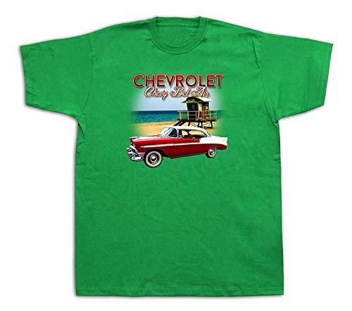 TopVip New Mens Cotton Tshirt Print Chevrolet Chevy 1956 bel air Beach Sun Muscle Car Inspired Funny Gift Green ()