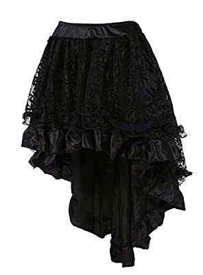Aecibzo Women's Solid Color Lace Asymmetrical High Low Corset Skirt