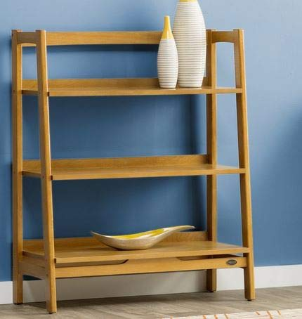 Book Cases Shelves-Bookself - Etagere Acorn Wood with Three Shelves Ladder Style - Display Space to Showcase Your Books ()