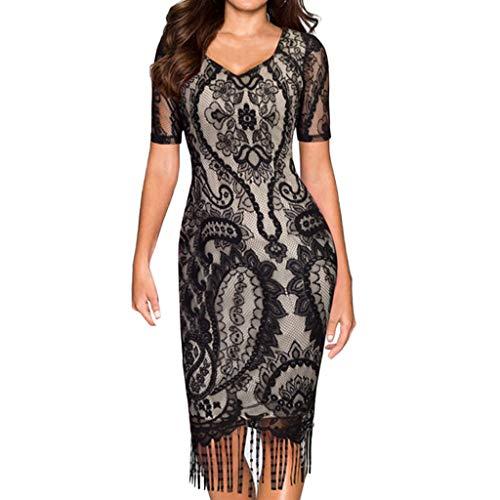 Gyouanime Long Dress Women Winter Party Dress Skirt Short Sleeve Casual Lace Tassel V-Neck Pencil Dress -