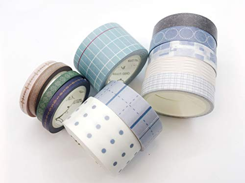Stripes, Grid, and dot Patterned washi Tape Set of 12 Rolls for scrapbooks, Crafts, Cards, Invitations and for Marie Kondo Style upcycling Leaves no Residue When - Stripe Marie