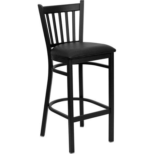 Flash Furniture HERCULES Series Black Vertical Back Metal Restaurant Barstool - Black Vinyl Seat -
