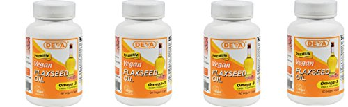 Deva Vegan Vitamins Flax Seed Oil, 500 MG, Vegan, 90 Vcap (4 pack)