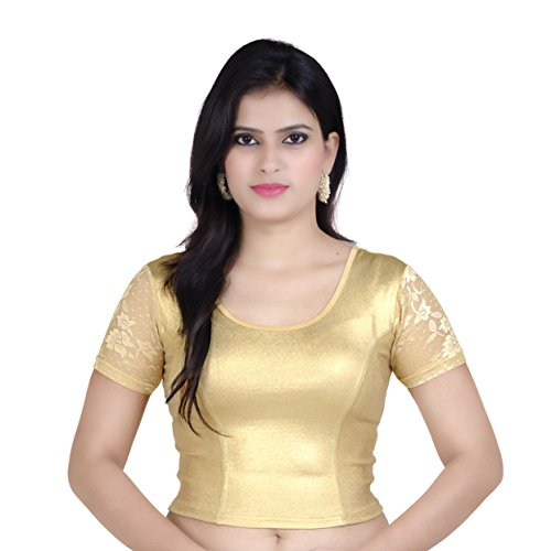 Choli Blouse - Chandrakala Womens Stretchable Readymade Gold Saree Blouse Crop Top Choli,Gold,Free Size