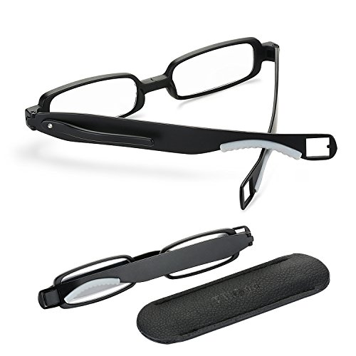 1.5 Reading Glasses Men Women Folding Designer 2017 Sight Small Cute Black Lightweight Flexible Portable Compact 360° Rotating Mini Clip Readers Plastic Fashion Modern Adult 1.50 Pocket - Frames Designer Mens 2017