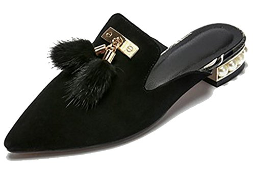 Fluffy Women's Tassels Slippers Flat Slip Shoes Mules on Larosa Black Pearl Xxd5FqwHxf