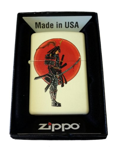 Samurai Shark (Zippo Custom Lighter - Japanese Warrior Samurai w/ Bloody Sword Cream Matte)