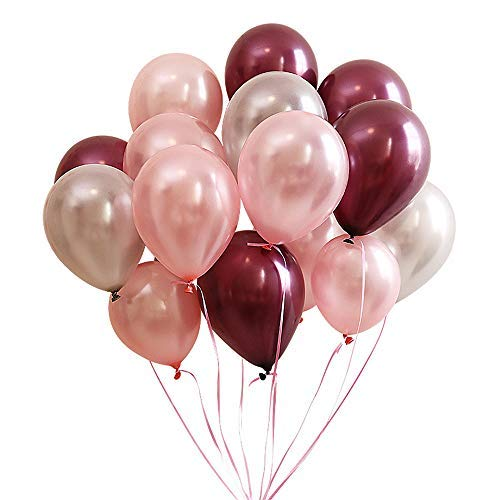 Burgundy Rose Gold Gray Latex Balloons 100 Count,12 Inch -