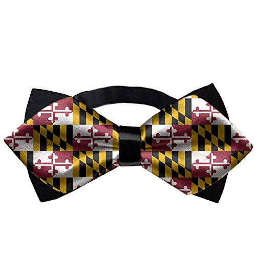 COLORFULSKY Adjustable Length Pre-Tied Bow Tie for Men & Boys, Formal Elegant Maryland State Flag Bowtie Accessories -