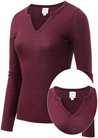 REGNA X BOHO Women's Long Sleeve V Neck Slit Slim-Fit T-shirt